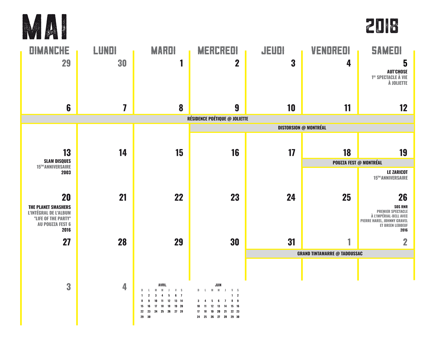 Ligue Rock 7 - Calendrier - Dates