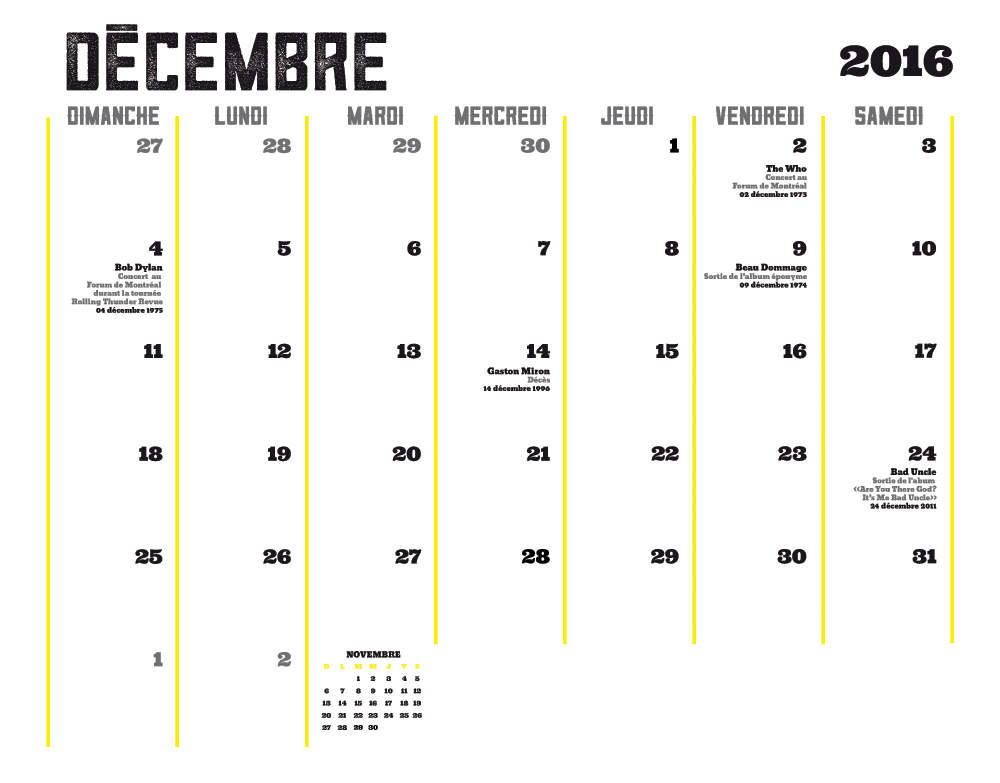 Ligue Rock 5 - Janvier 2016 - Calendrier